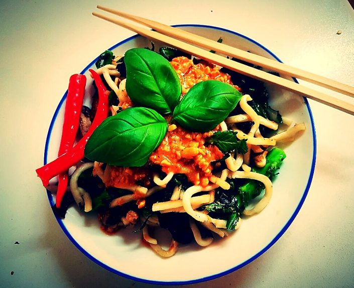vegan Noodle stir fry amrutha lounge